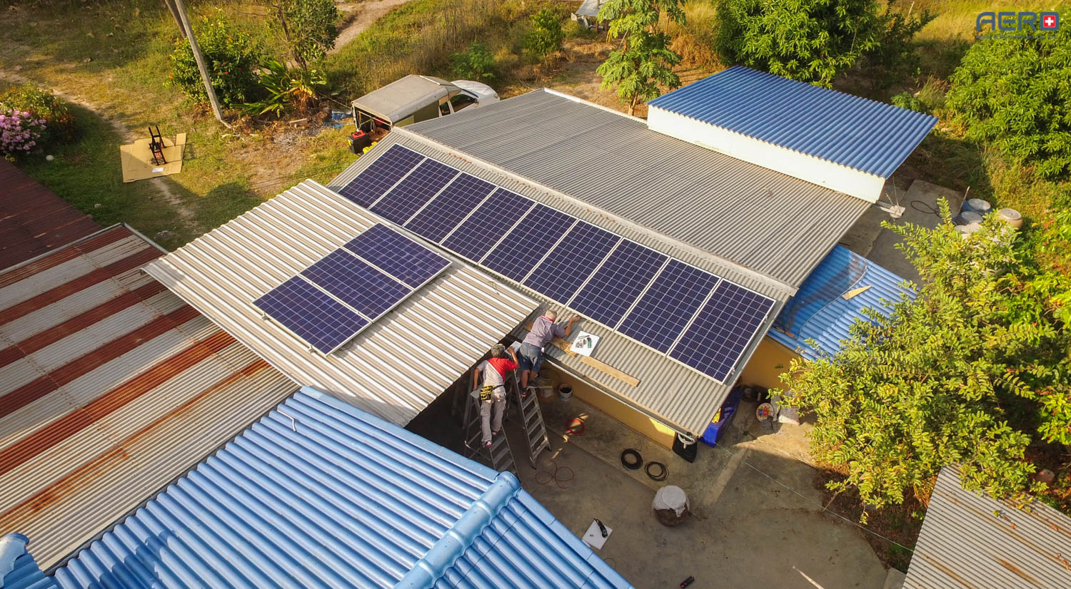 AERO Solar Installation for rooftop Power Plant at Uthai thani