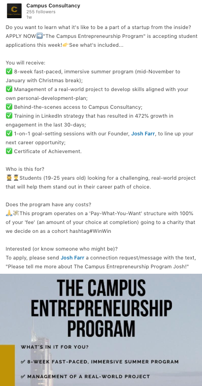 "Example of ""Call To Action"" posted on the Campus Consultancy page."