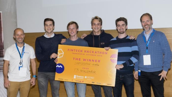 From left.: Simen Armond (Finance Innovation), Anders Hjort, Halvor Reiten, Markus Blytt, Vemund Santi og Haakon Skar (NTNU Accel).  © : Vega Ebbersten