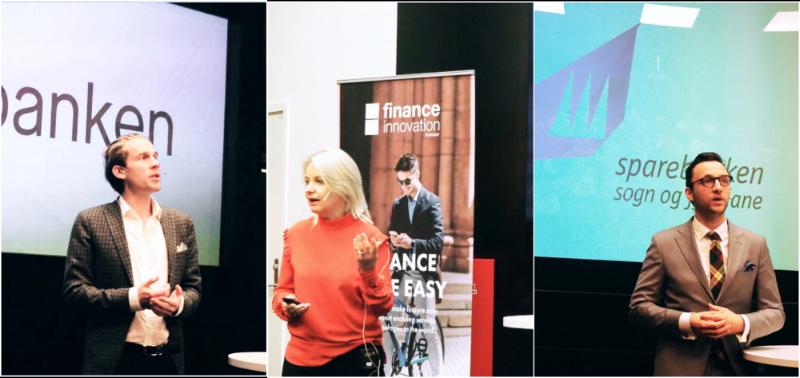 Fra venstre: Christoffer Hernæs - Sbanken, Bjørg Marit Eknes - Sparebanken Vest og Reiel Haugland - Sparebanken Sogn og Fjordane.  Foto: Finance Innovation
