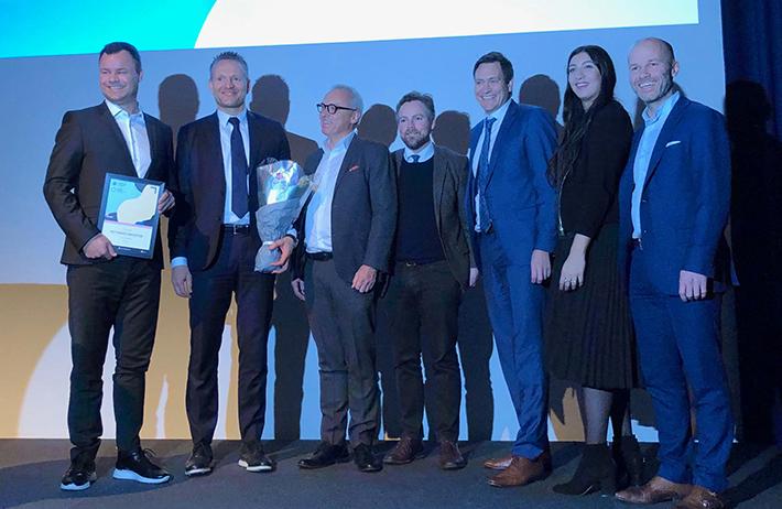 Fra venstre: Atle Sivertsen, Jan Erik Kjerpeseth, Stig Frode Opsvik, Næringsminister Torbjørn Røe Isaksen, Bent Gjendem, Rea Parashar og Simen Armond. Bilde: Vivian Lunde