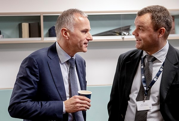 Tom Staavi, Director of Information in Finance Norway together with Atle Sivertsen, CEO in NCE Finance Innovation. Photo: Helge Skodvin