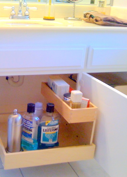 "Don't forget your bath and laundry rooms...This photo shows our OPTIONAL 6"" MINI SHELF that attaches to the inside a pullout box with just 3 screws."