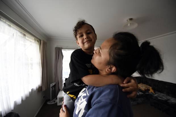 Tangiwhetu Williams and her 4-year-old son Sloan Williams. Photo/George Novak