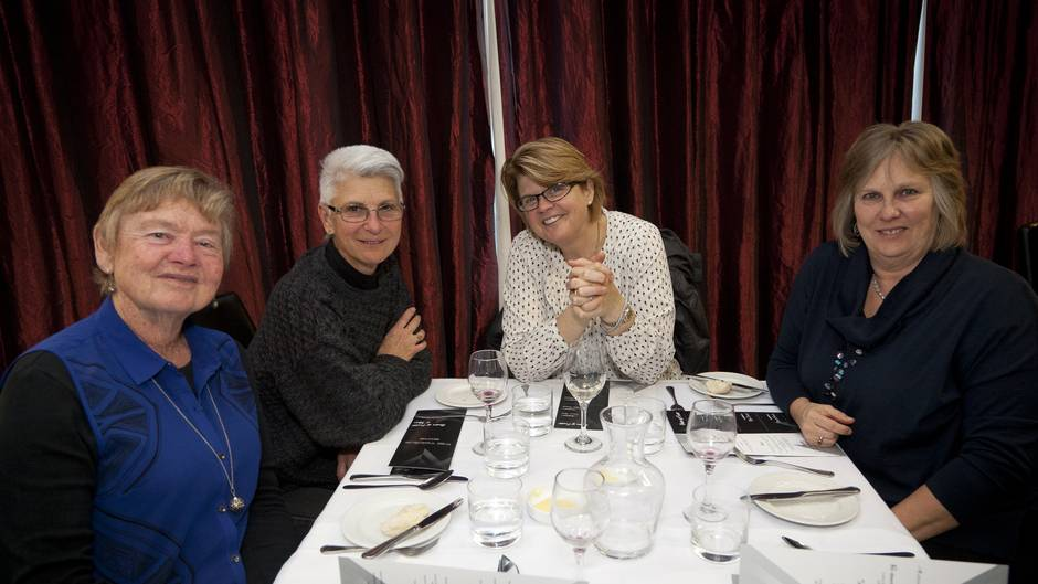 (l-r) Jennifer Jones, Mary Jo Gagan, Susanna Shelton, and Karen Conroy. Fundraising dinner for the homeless at BOP Polytechnic.  Photo/Andrew Warner