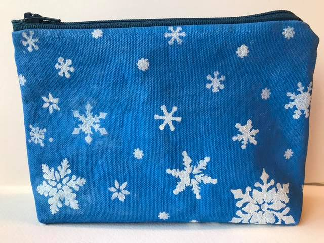 "4.  SOLD  Handcrafted mixedmedia zippered pouch with winter theme 4 1/2"" x 8"" (front)"