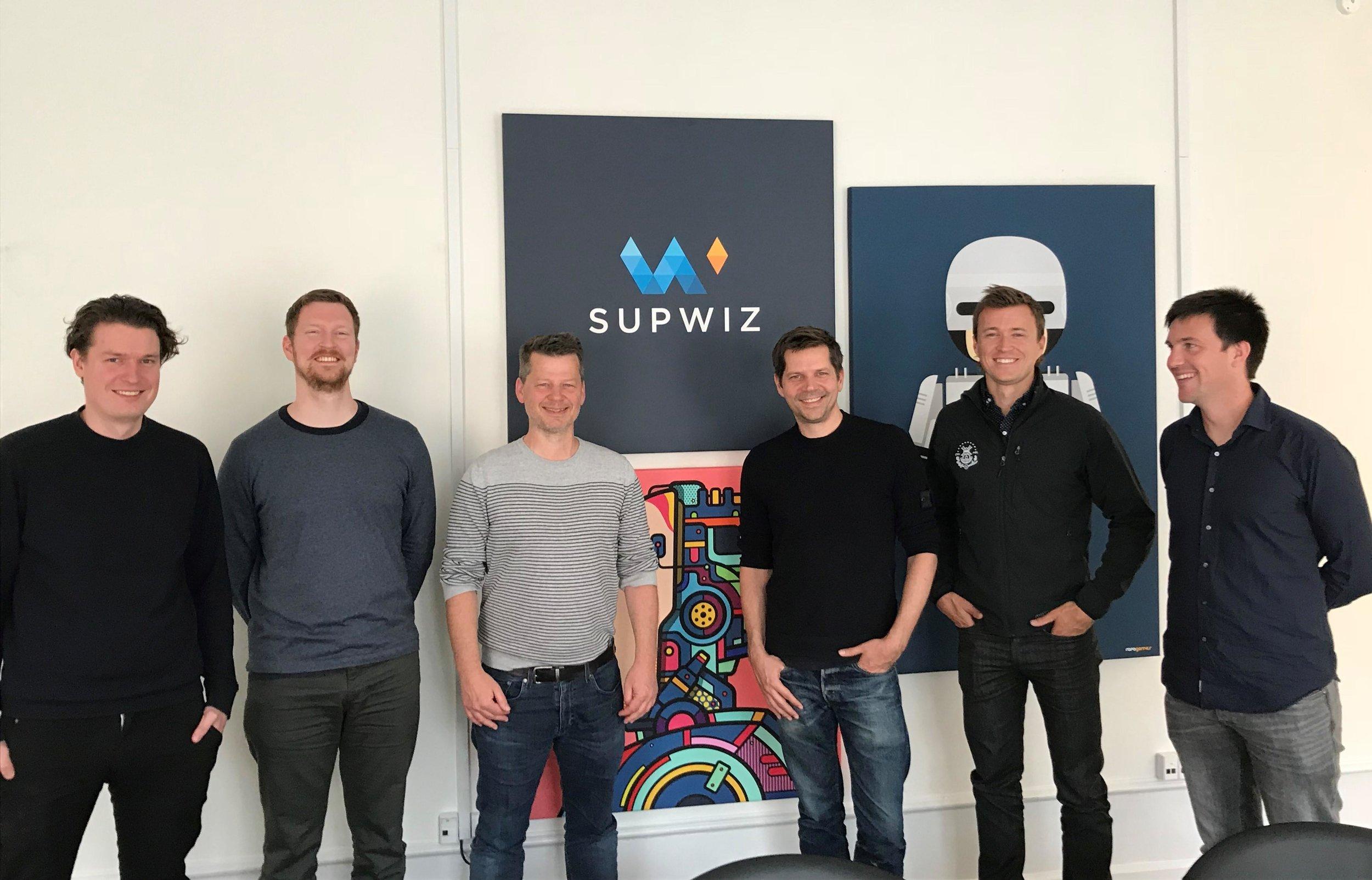Left-to-right: SupWiz co-founders Mathias Knudsen, Søren Dahlgaard and Stephen Alstrup. Zendesk co-founder Morten Primdahl, Zendesk VP & GM Jason Maynard, Zendesk Data Scientist Chris Hausler