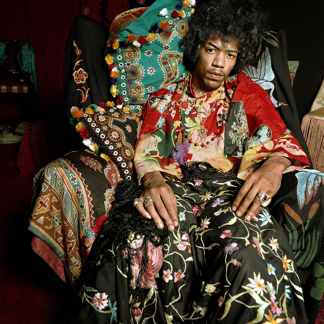 Jimi Hendrix in his London flat, Observer magazine, August 1967