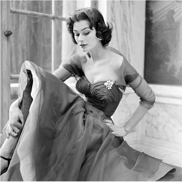 Anne Gunning in a Black Evening Dress for Vogue Magazine, April 1952