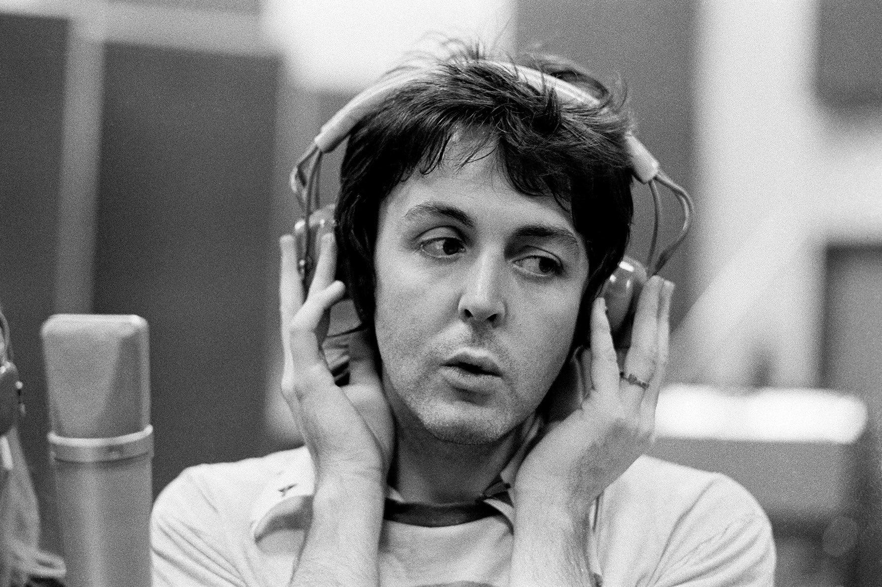 Paul McCartney, recording in Studio, London, 1974