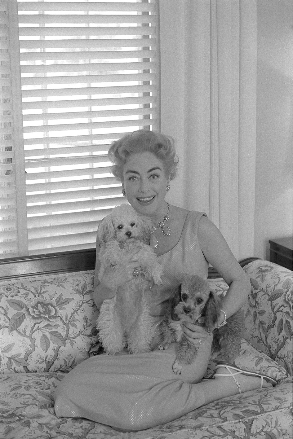 Joan Crawford with her dogs, Beverly Hills, 1959