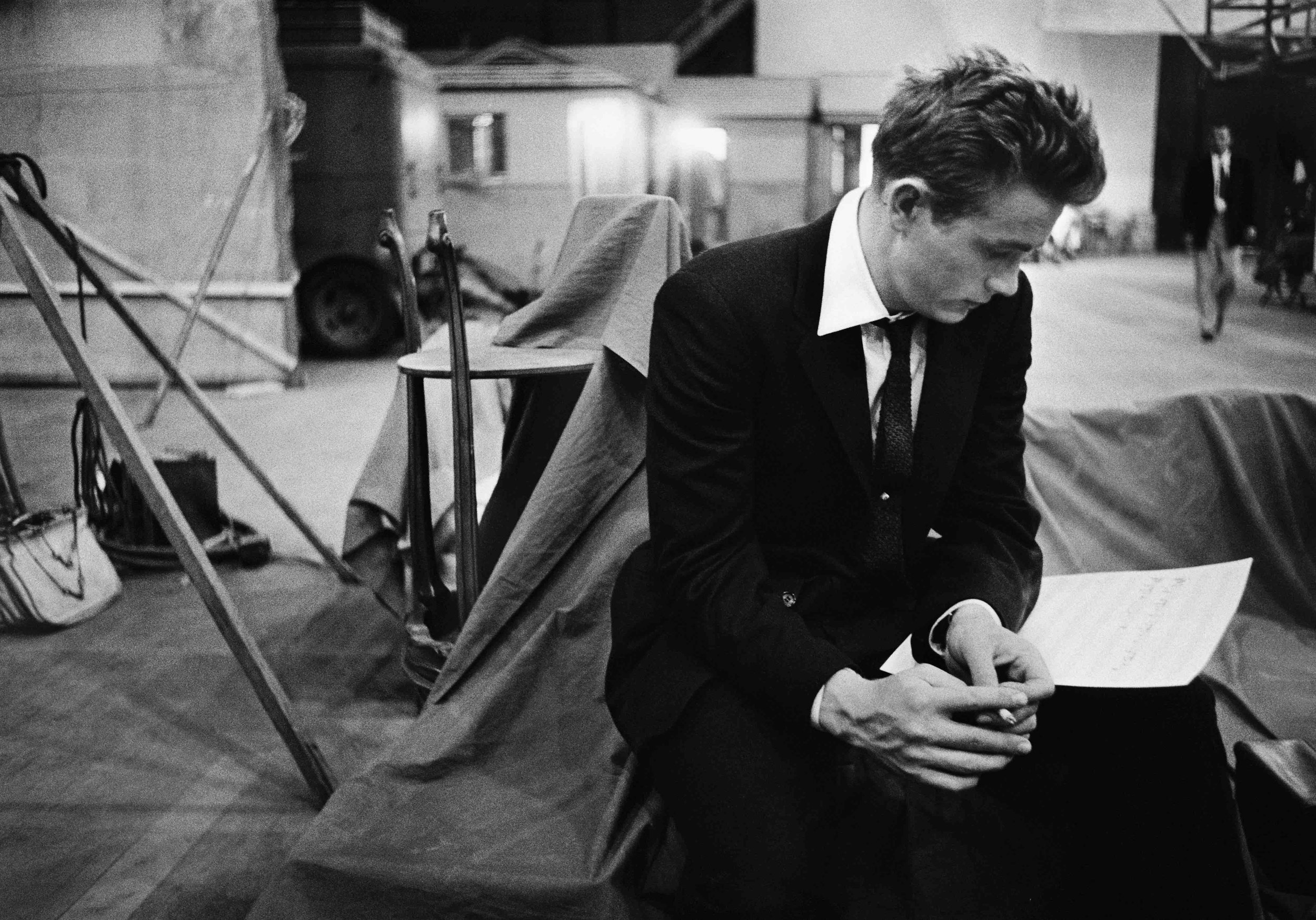 James Dean reading on the set of Rebel Without A Cause, 1955