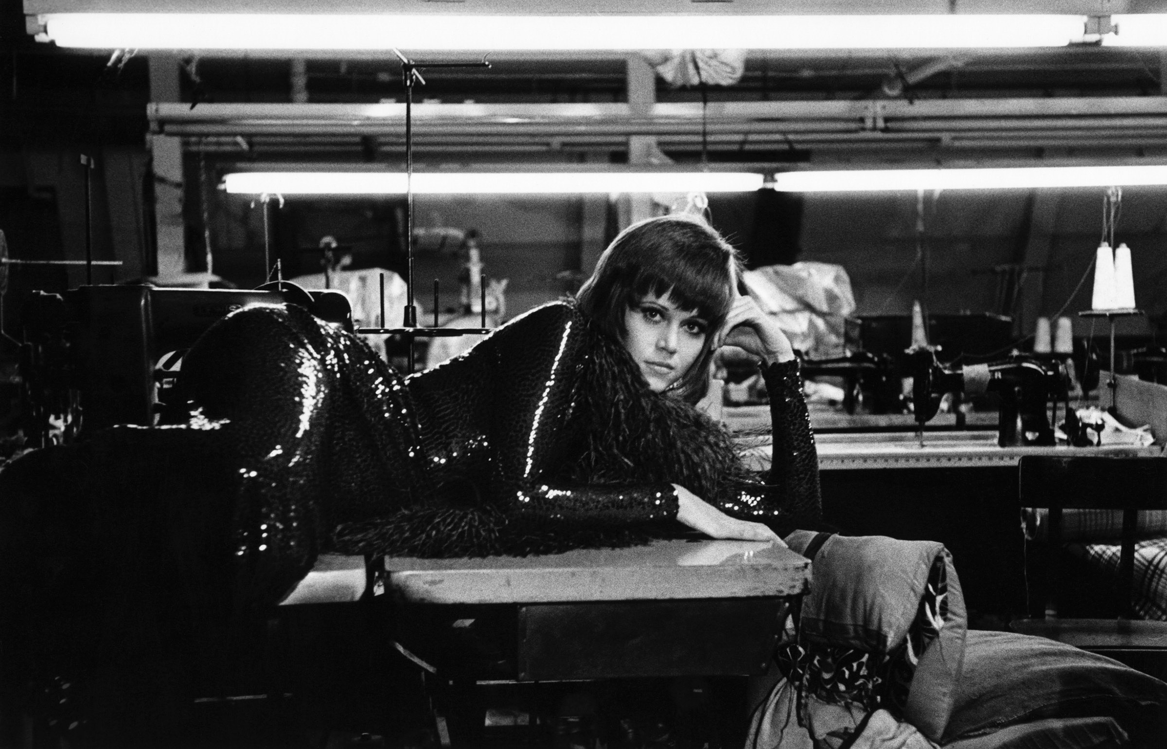 Jane Fonda resting on the NYC location of Klute, 1970