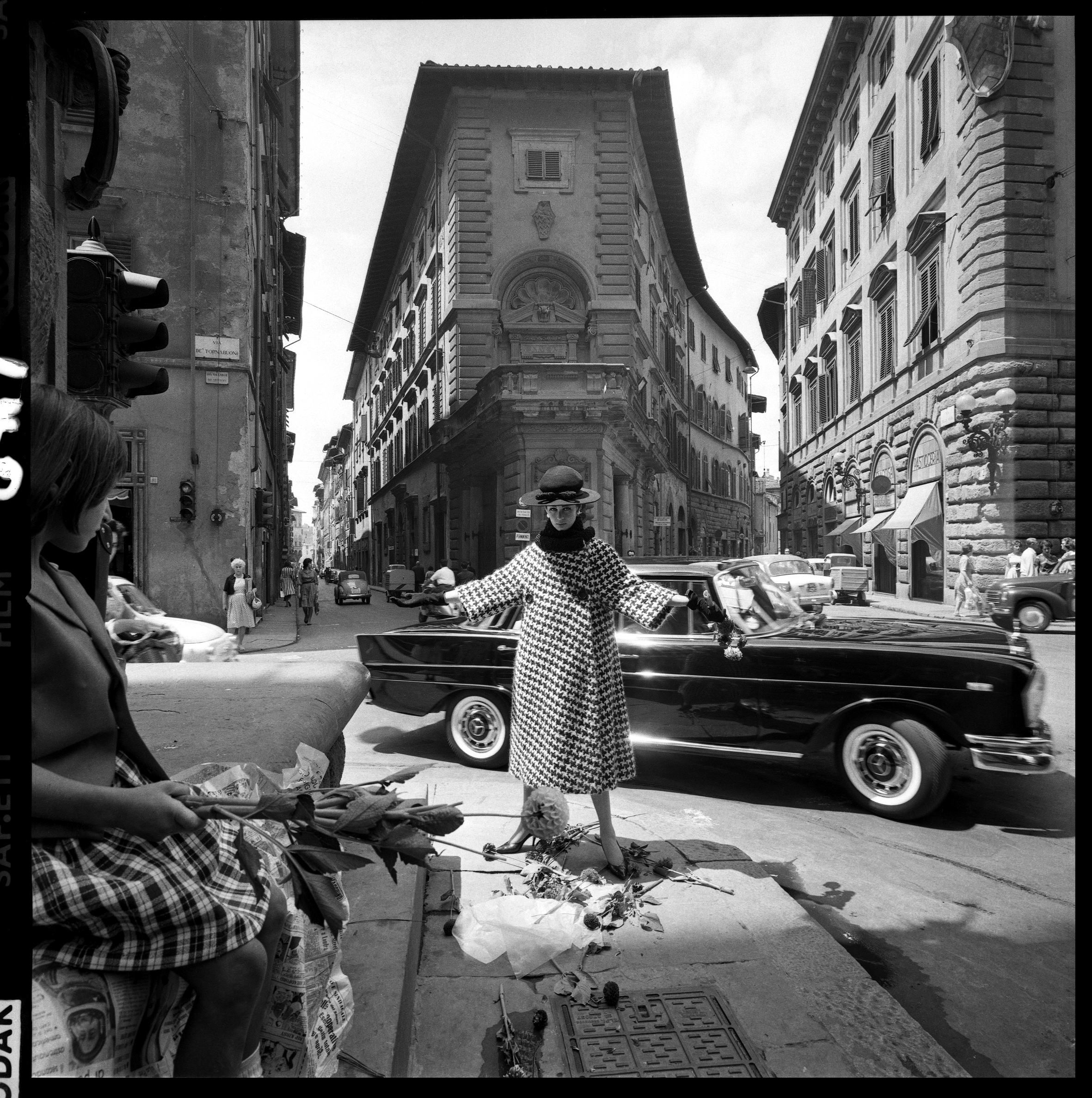 Fashion Shoot, Florence for Vogue Magazine, 1962 (dropped Flowers) by Brian Duffy