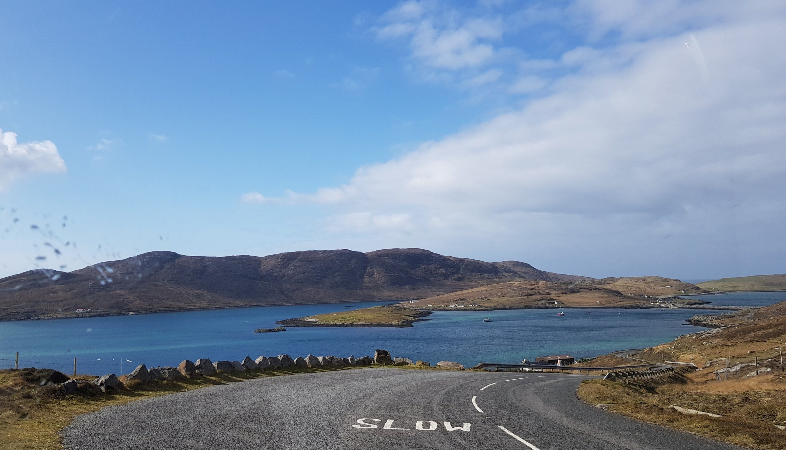 Driving down to Vatersay Causeway