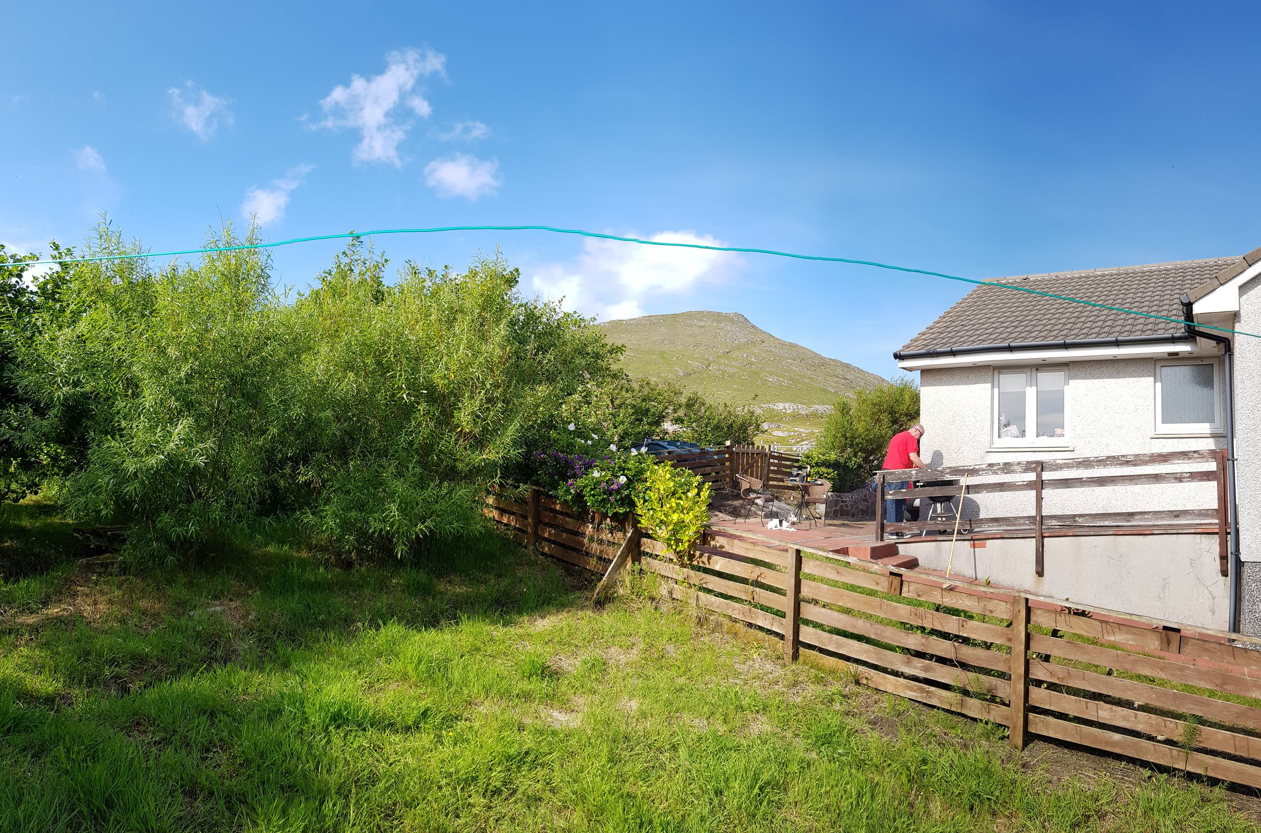 Wonky clothes line, due to panorama picture, but you get the idea! Ben Heaval in the background.