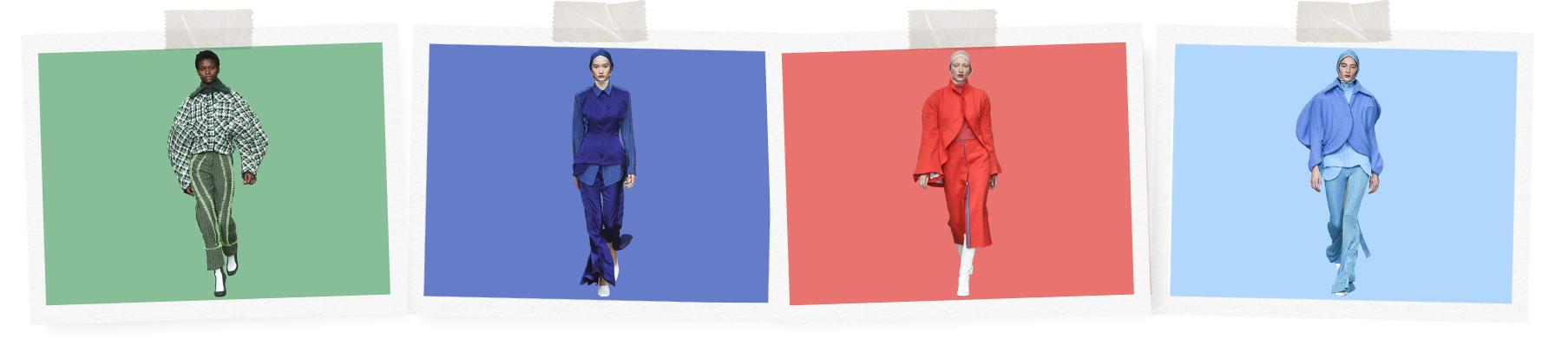 Catwalk cutouts of Richard Malone's AW18 collection.