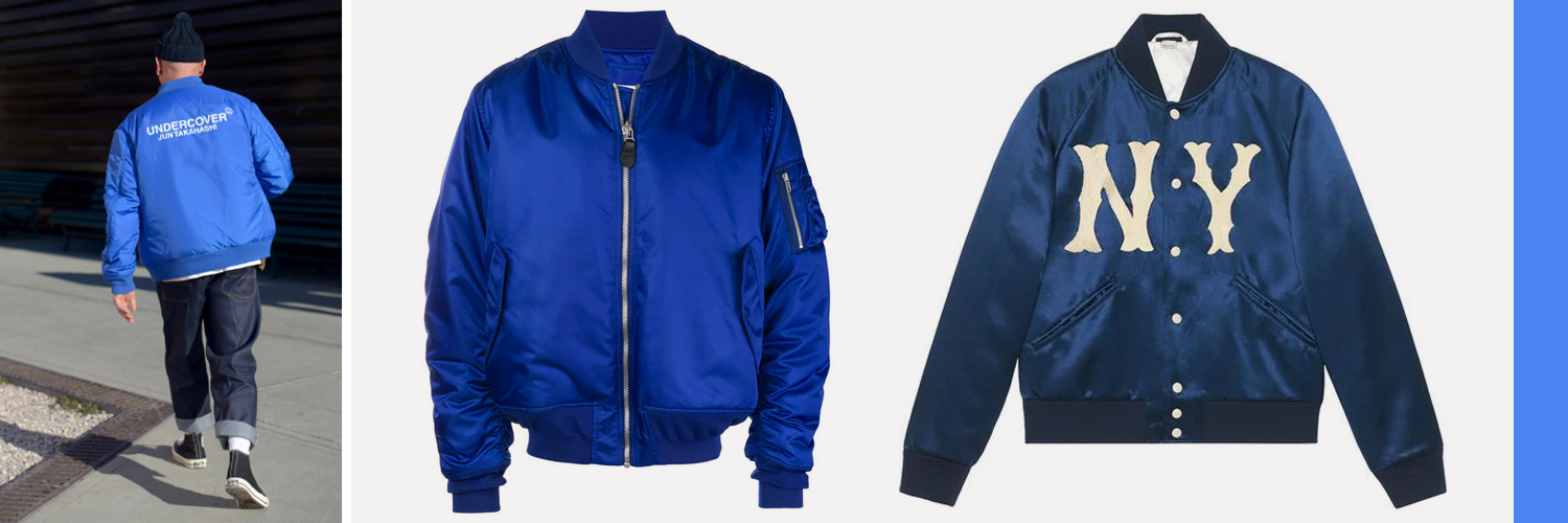"""Mid"""": Maison Margiela padded bomber jacket, $1,040 Right: Gucci jacket with Yankees patch, $2,840, available at  Farfetch.com"""