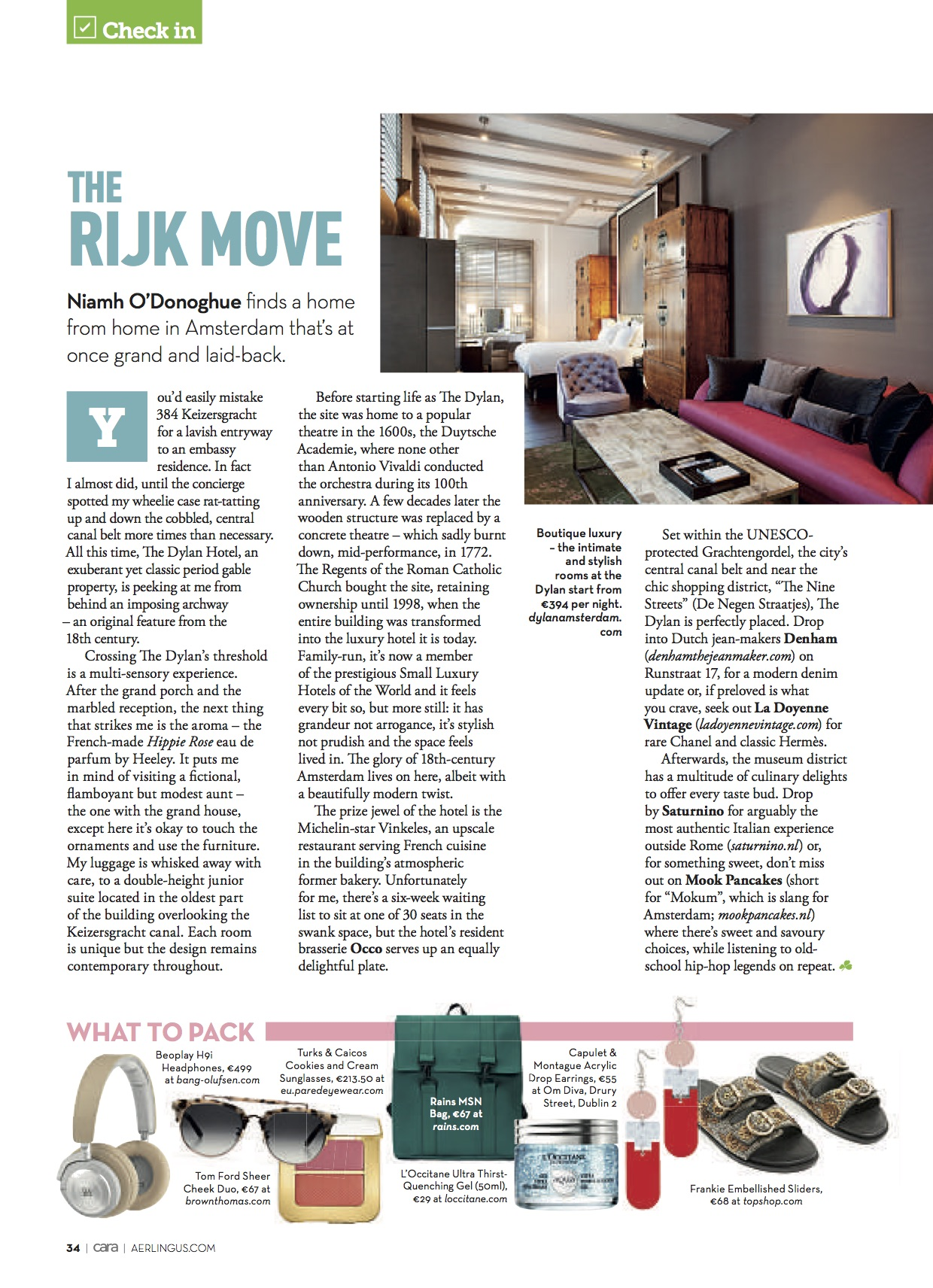 Luxury Amsterdam in the June 2018 issue of CARA in-flight Magazine on Aerlingus