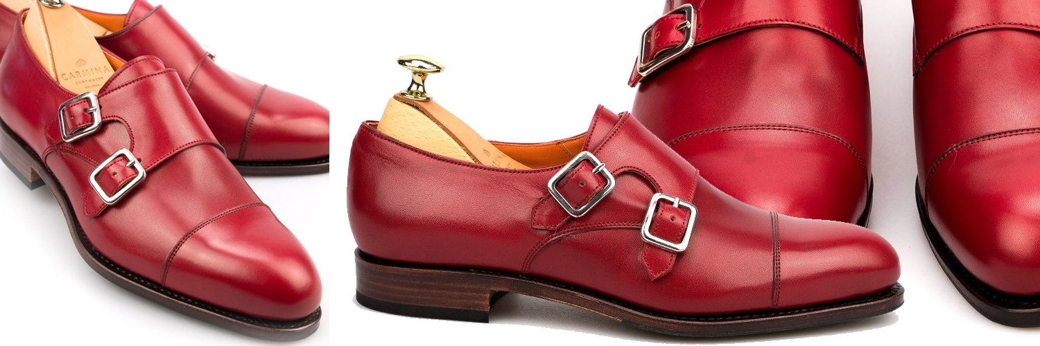 Double Monk strap shoes in red vitello, €285.12    carminashoemaker.com