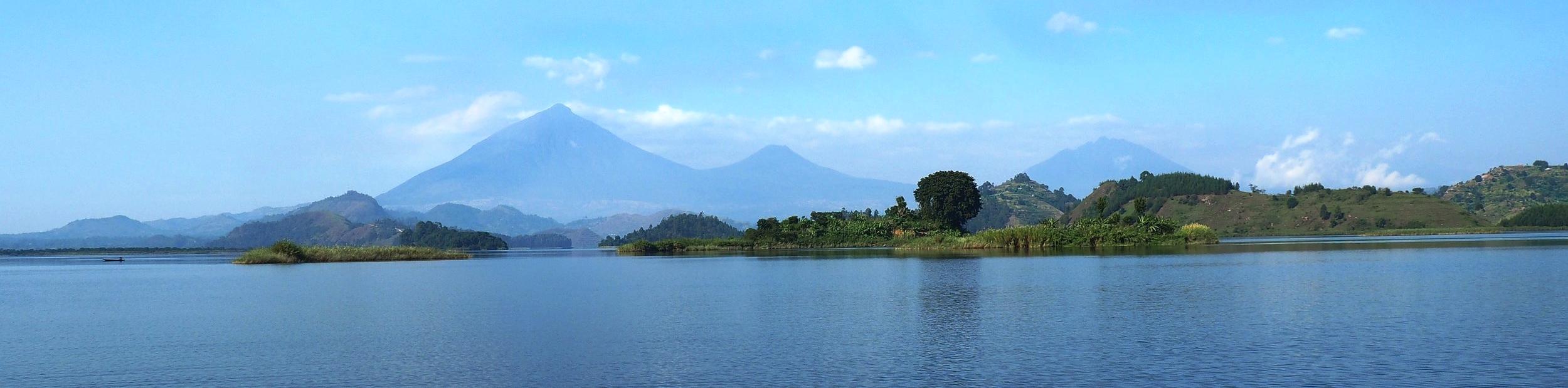 Virunga volcano mountain view from Mutanda Lake Resort