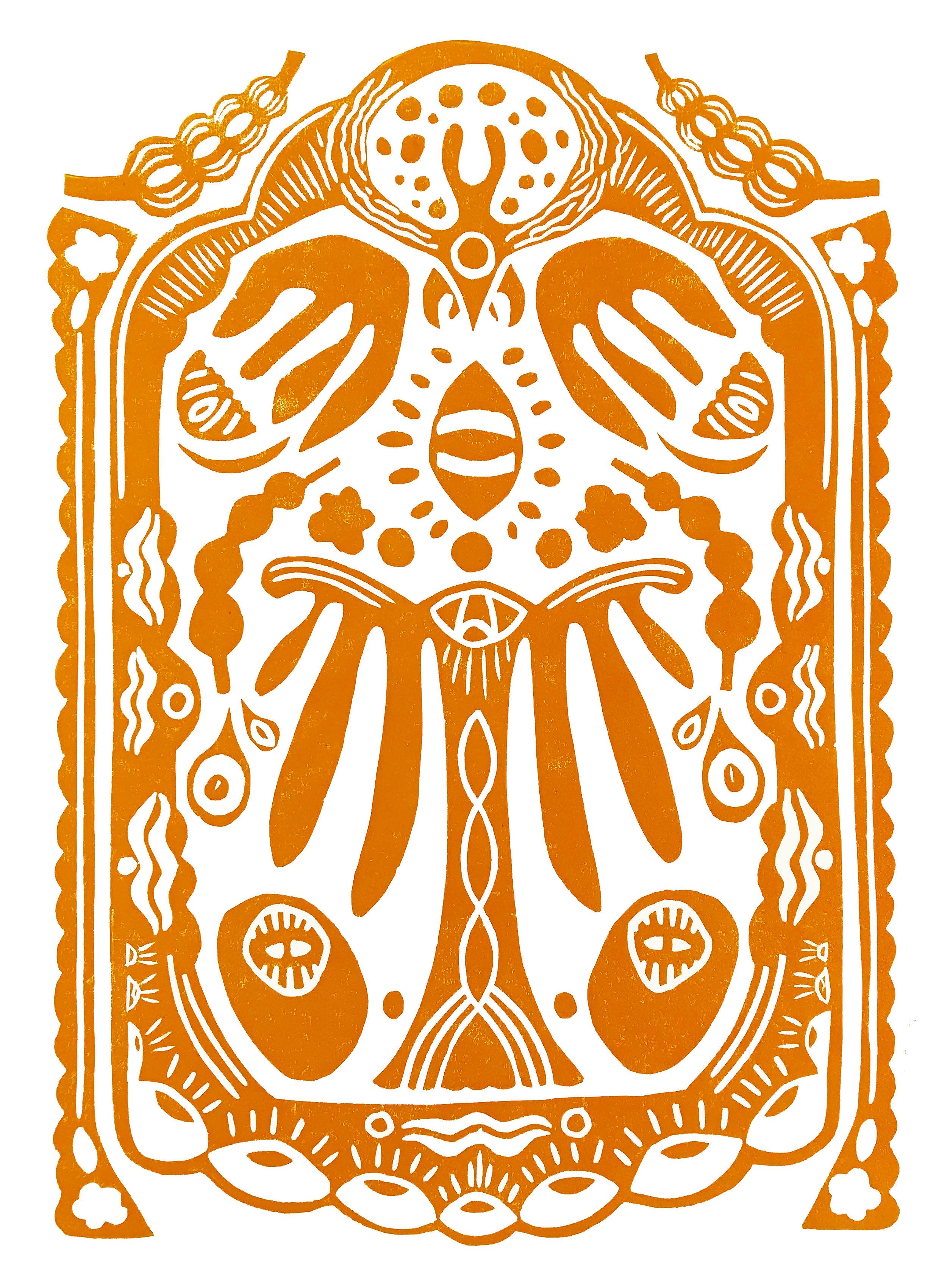 Handprinted Linocut, a3