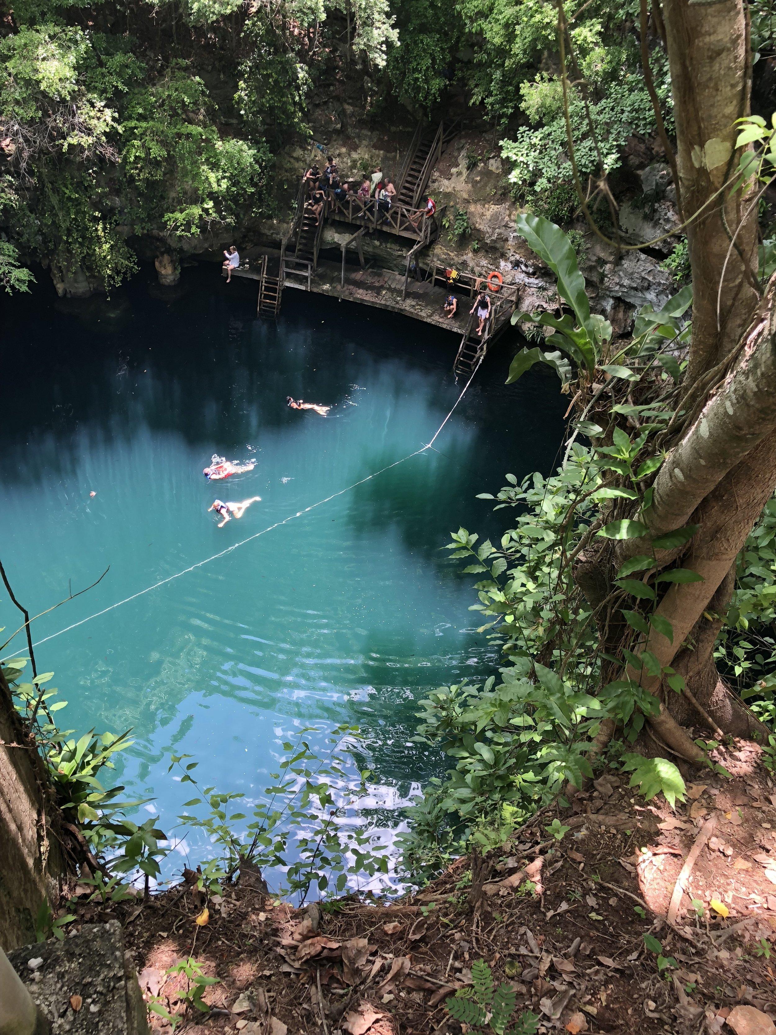 Cenote swimming in Isla Holbox