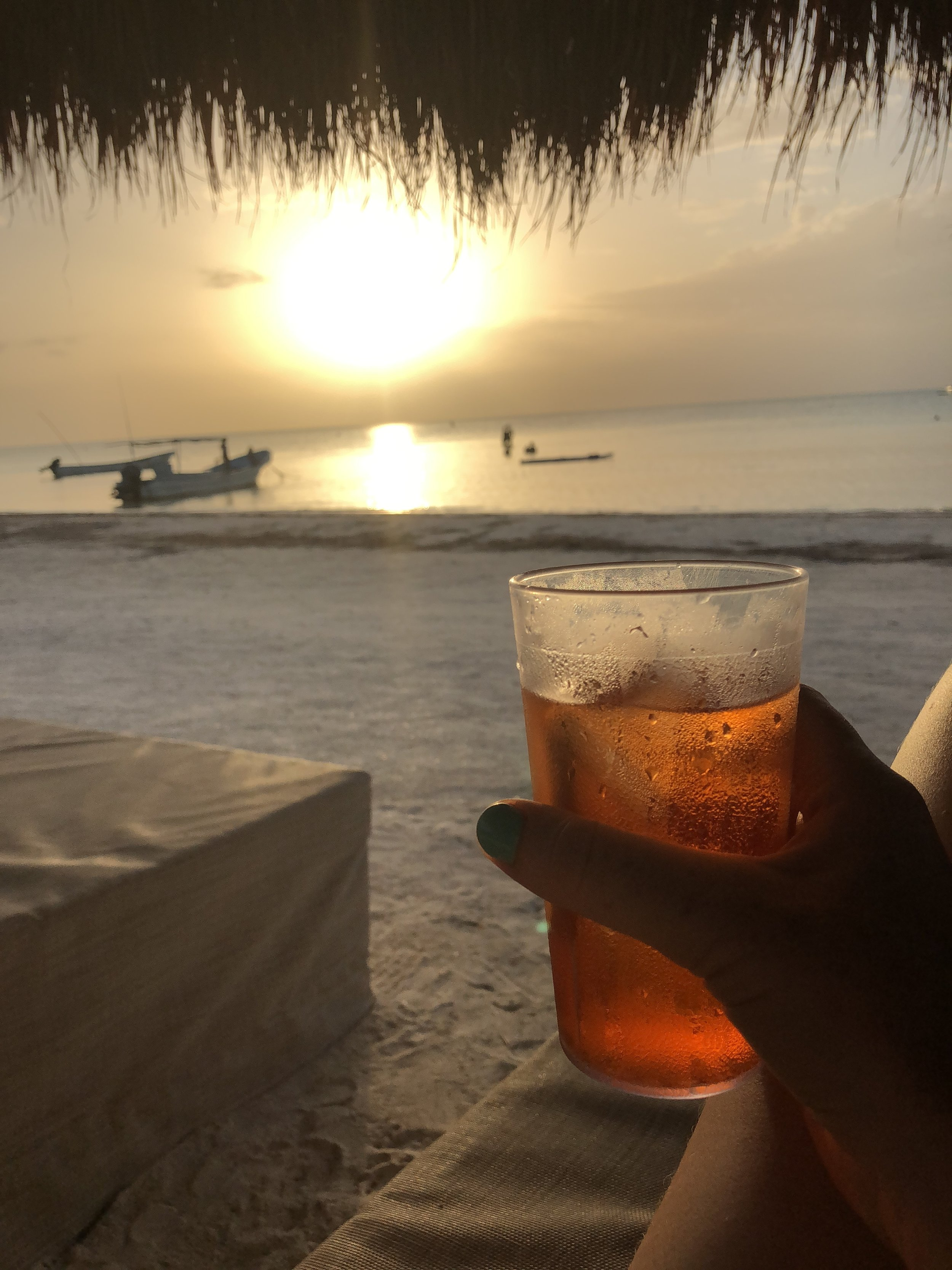 Sunset downers on the beach in Isla Holbox