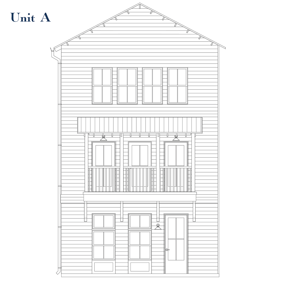Unit A Front Elevation | East Wilbur LiveWorks, Downtown Lake Mary