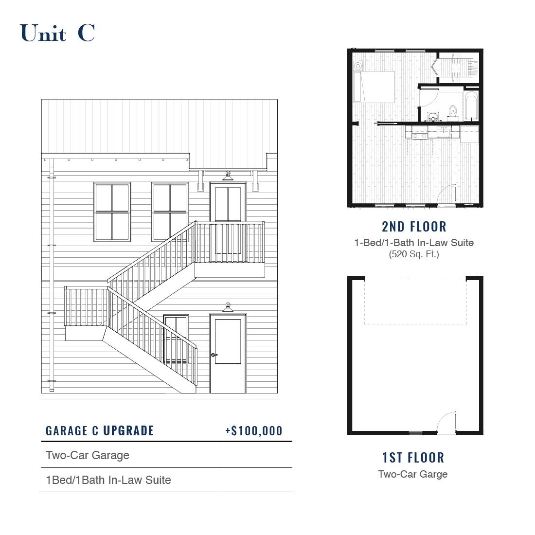 Unit C Premium Garage with ADU   East Wilbur LiveWorks, Downtown Lake Mary