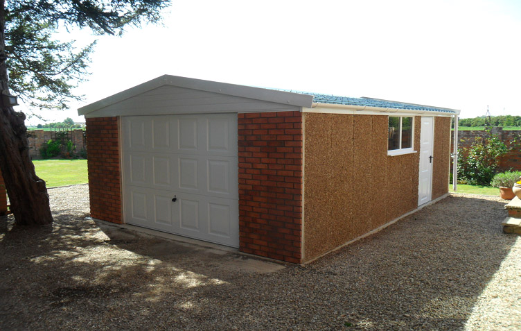 The sides and the back of this garage were built with a brown spa finish.