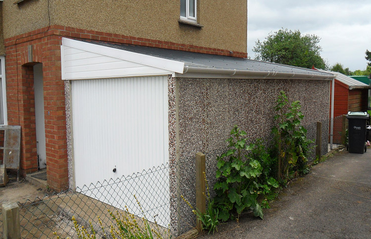 These lean to style garages work well when width is limited to build a standalone garage.