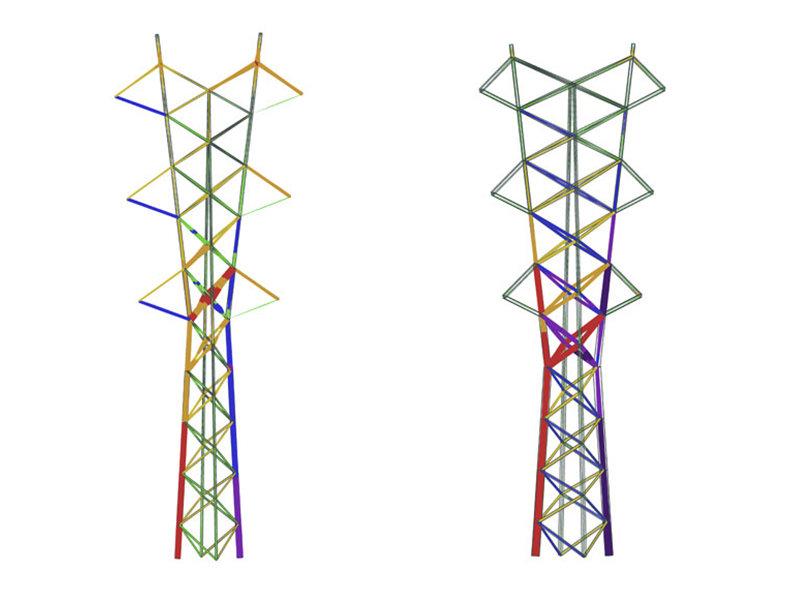 Suspension tower and tension tower stress diagrams
