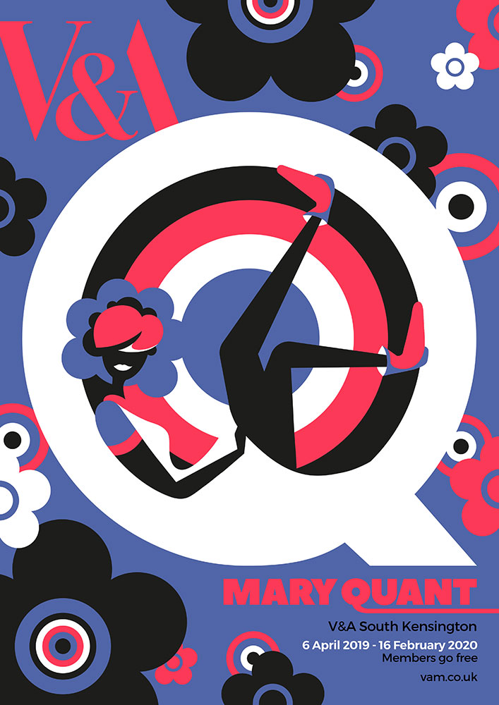 Triptych of advertising posters for The V&A Mary Quant exhibition - self initiated