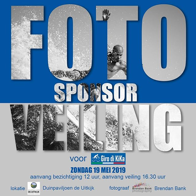 "Zondag 19 mei a.s organiseer ik een fototentoonstelling en veiling voor Stichting Kika,  Kinderen Kankervrij. In juni ga ik Giro di KiKa rijden door Umbrië en Toscane in Italië waar ik als deelnemer mijn sponsor geld doneer aan KiKa. Ik veil mijn surf foto's en portretten die ik de afgelopen 18 maanden heb gemaakt. De expositie start vanaf 12 uur in Duinpaviljoen de Uitkijk aan de Hoge Duin en Daalseweg in Bloemendaal (bovenaan caprera, op het kopje) er staat een kop koffie of een drankje op je te wachten. Mocht je niet op de veiling om half 5 willen wachten dan kan je een biedformulier invullen. We hopen je graag te zien op Zondag 19 mei en op een grote bijdrage aan KiKa. Voor info;  https://www.girodikika.nl/brendan-bank https://www.deuitkijkbloemendaal.nl/ https://www.brendanbank.com/ . Sunday may 19th I am organizing an auction and exhibition for KiKa Foundation. End of June I'll be cycling the Giro di KiKa a charity race through Umbria and Tuscany in Italy. I'll be auctioning my surf pictures and portraits I've created over the last 18 months. The exhibition will start at 12 uur at the ""Duinpaviljoen de Uitkijk"" at the de Hoge Duin en Daalseweg in Bloemendaal, we'll have coffee and drinks. In case you are not able to wait for the auction which will start at 4.30 p.m. bid-forms will be available for you.  hope to welcome you and of course anticipate a large donation for KiKa. For more information;  https://www.girodikika.nl/brendan-bank https://www.deuitkijkbloemendaal.nl/ https://www.brendanbank.com/ . #surfphography #surf #beach #portraitphotography"