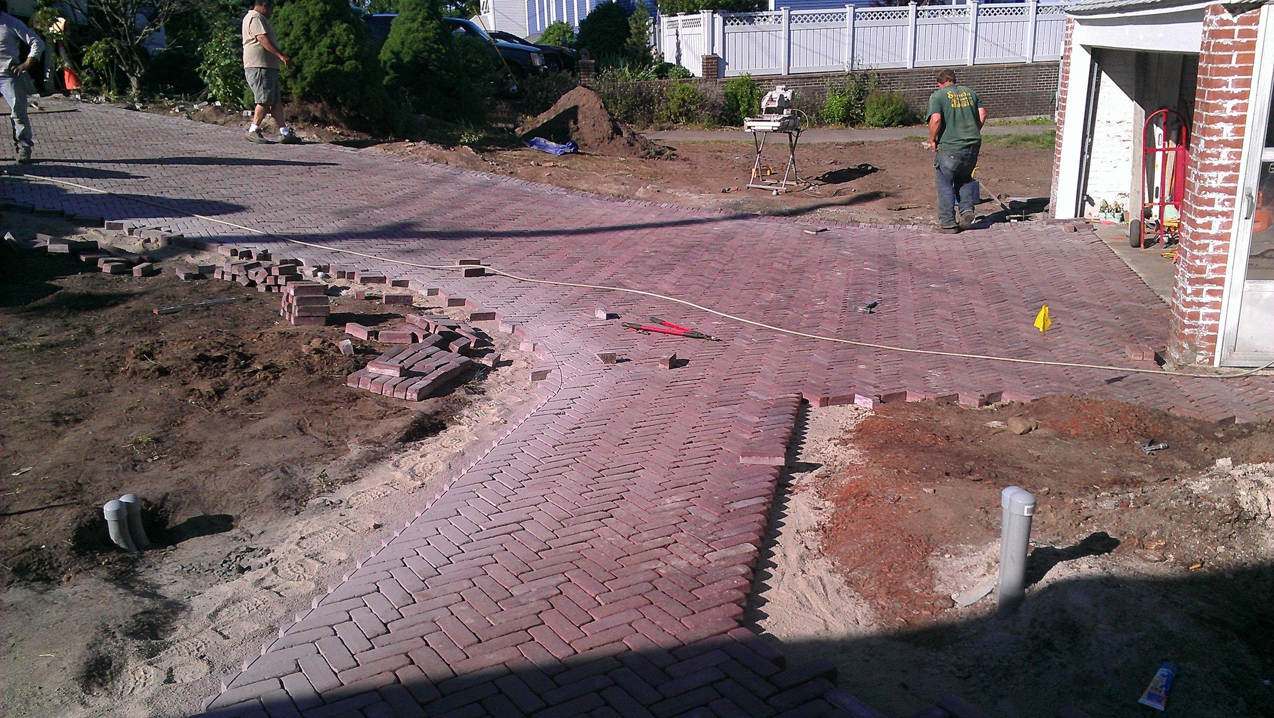 Brick Paver Sidewalk In Progress