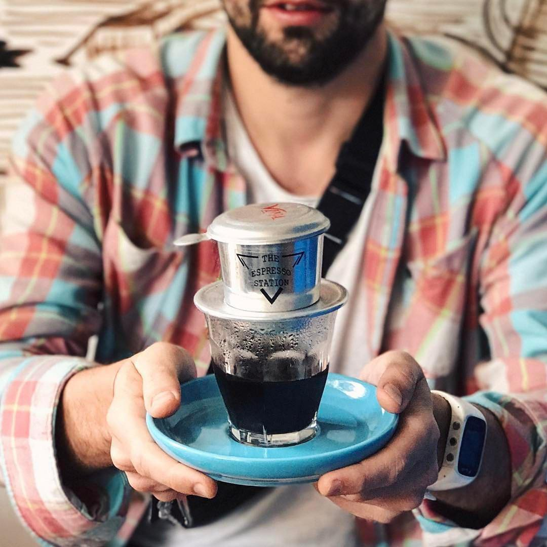 "Vietnamese traditional phin - Ca phe denCoffee is brewed in individual portion using ""phin""- a small metal Vietnamese drip filter. It's served hot or iced."