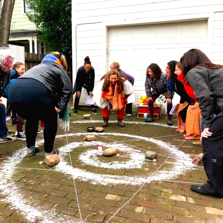 Walking the Spiral Path, doing the work to strengthen our personal boundaries at our volunteer training 'Bite the Apple'.