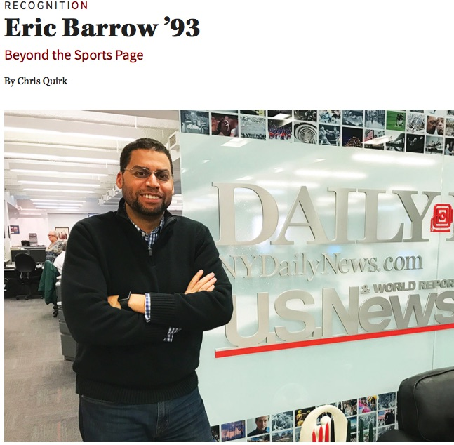 Beyond the Sports Page ,  On Wisconsin . Six months after graduating, Eric Barrow '93 was knocking around Tokyo, brushing up on his Japanese, and considering a career in international relations when...