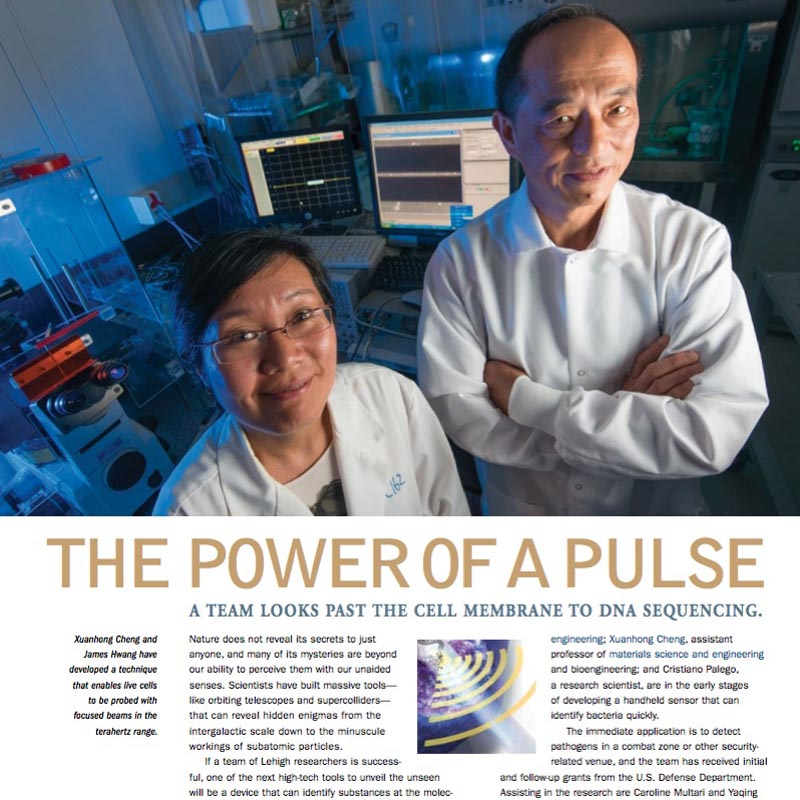 The Power of a Pulse ,  Resolve  (Lehigh University). Researchers are developing a handheld device that uses time domain pulses to analyze ambient pathogens.