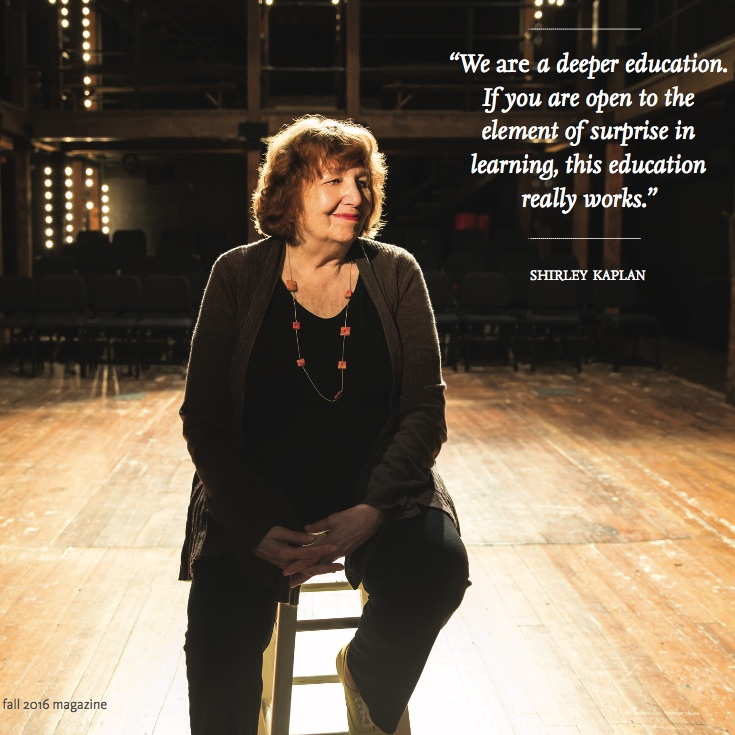 Celebrating Shirley Kaplan ,  Sarah Lawrence Magazine . Allen Lang MFA '95, then a newly hired coordinator of the Sarah Lawrence Theatre Outreach Program founded by Shirley Kaplan, was overwhelmed. He had just come back...
