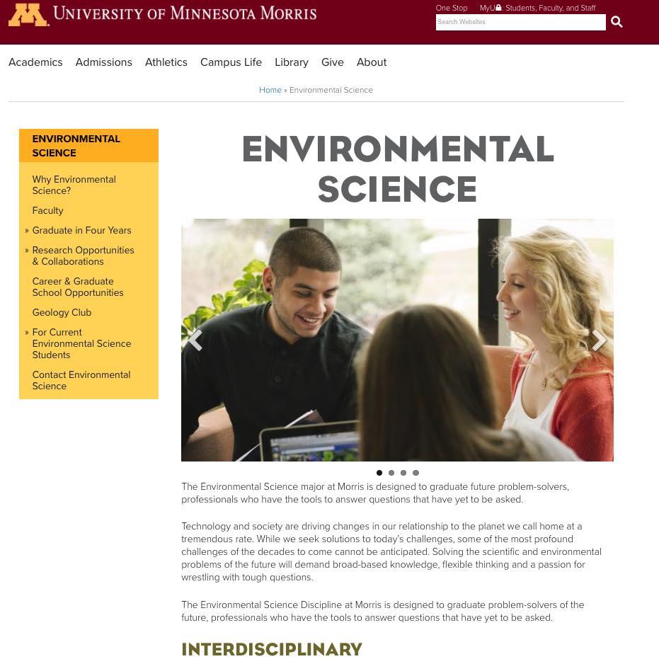University of Minnesota-Morris : Departmental webpage: Environmental Science.