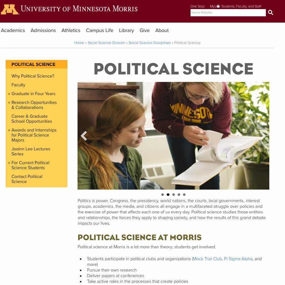 University of Minnesota-Morris : Departmental webpage: Political Science.
