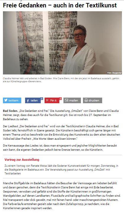 Hochster Kreisblatt article on Claire Benn and Claudia Helmer.JPG