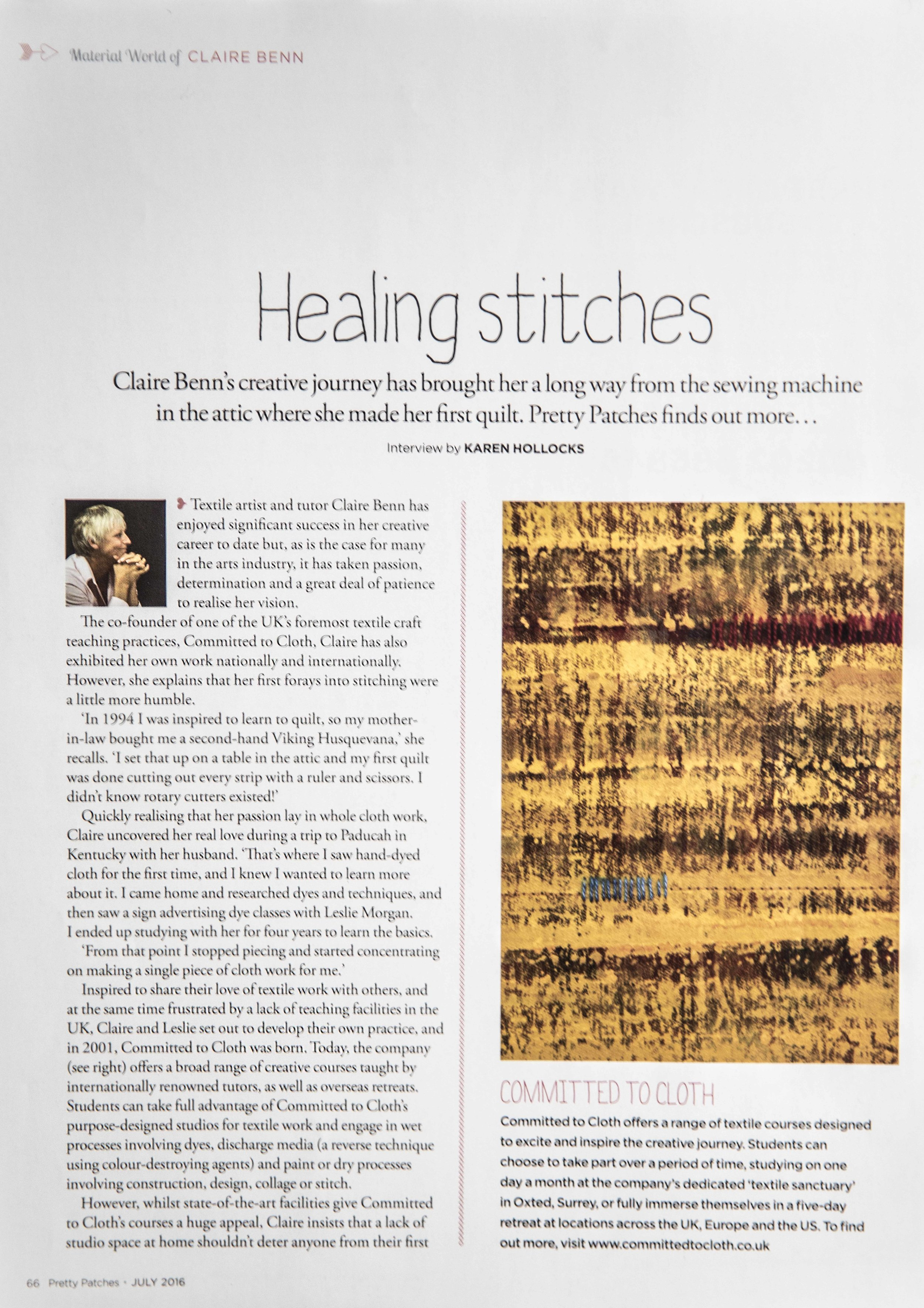 Article in Pretty Patches on Claire Benn Textile artist