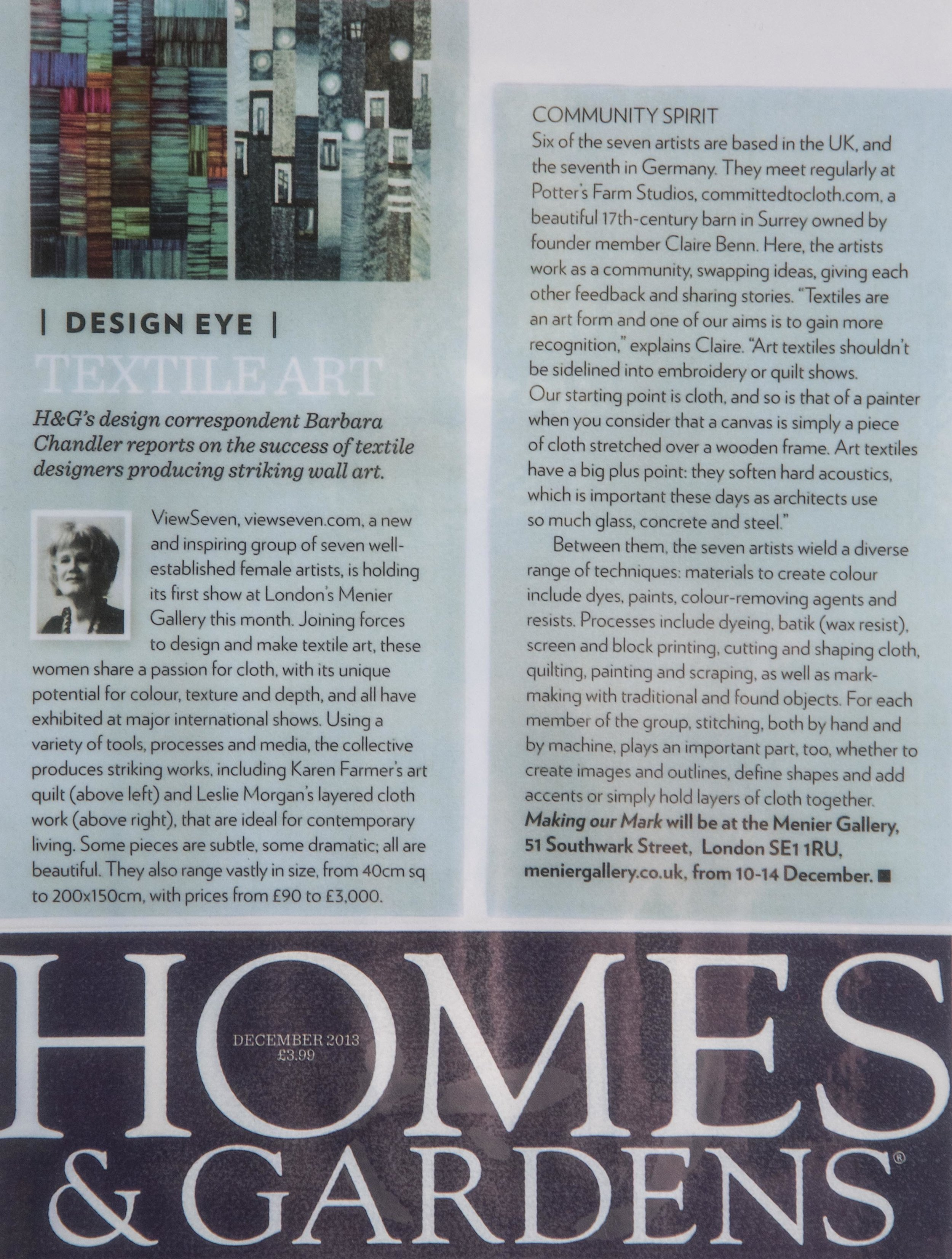 Article on Claire Benn in Homes and Gardens