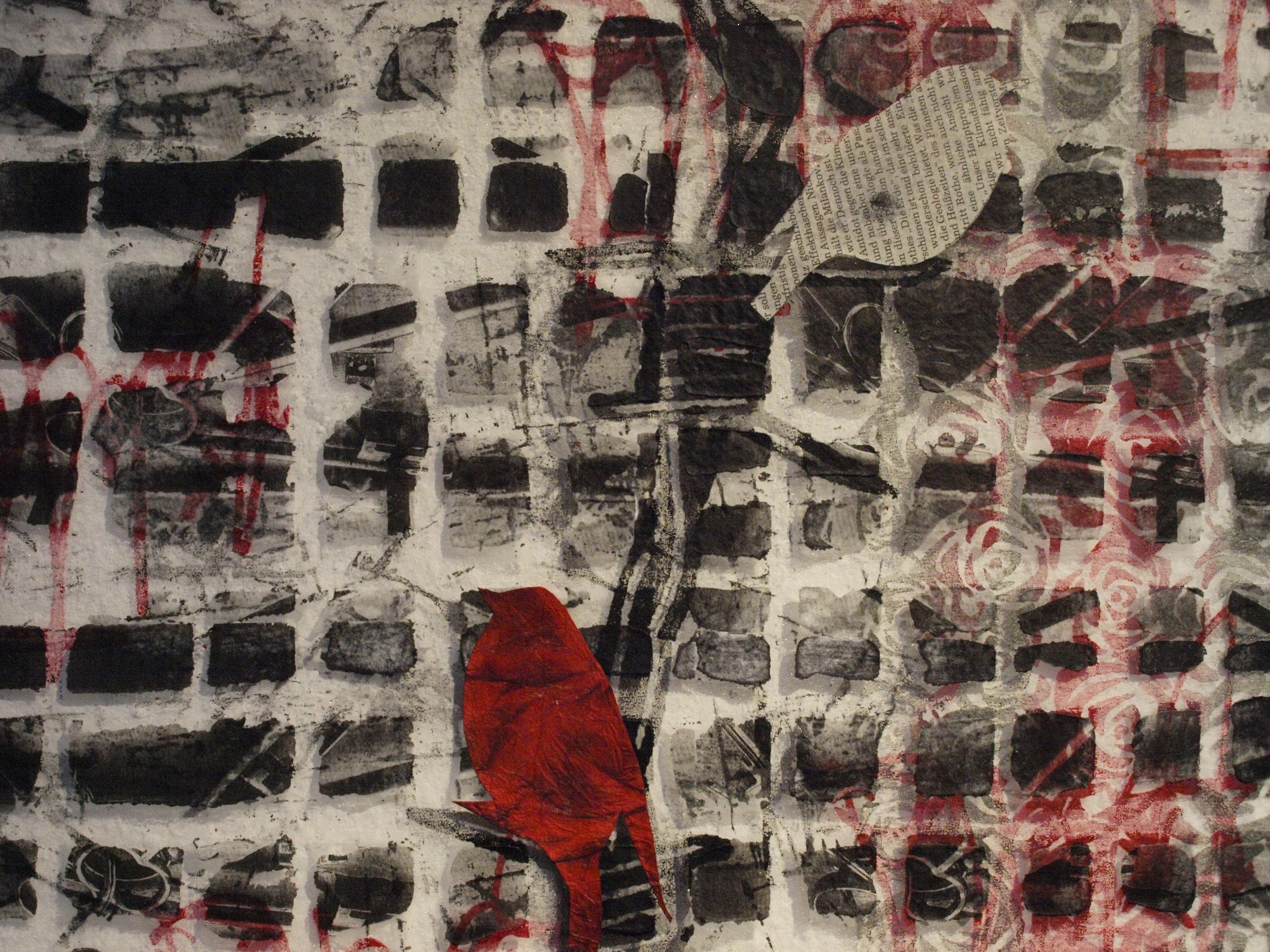 Claudia Helmer 'Zeitungs Vogel', detail.jpg
