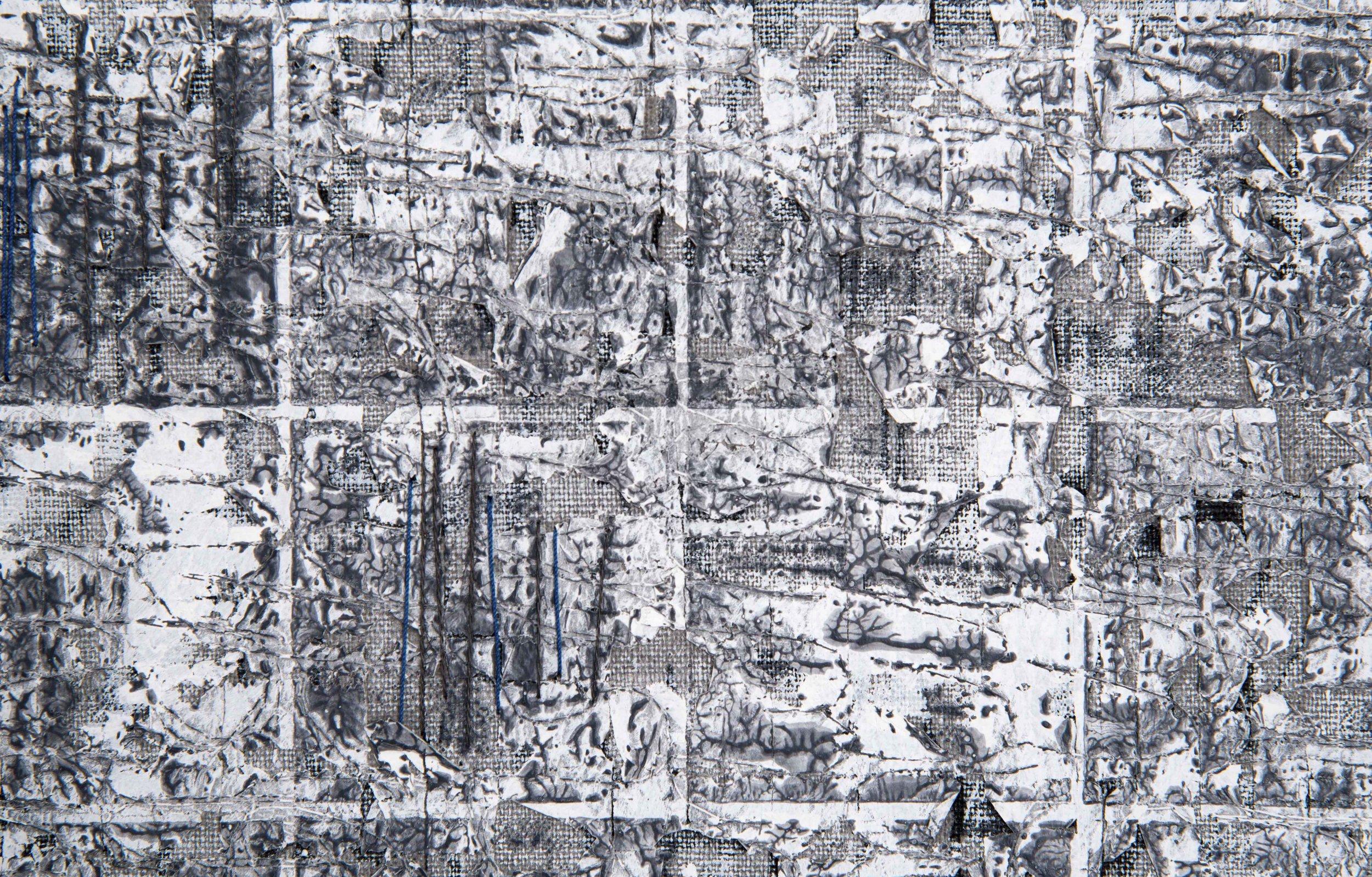 'Barren Arctic', detail. Linen, thread, tissue paper, acrylic paint, hand stitch
