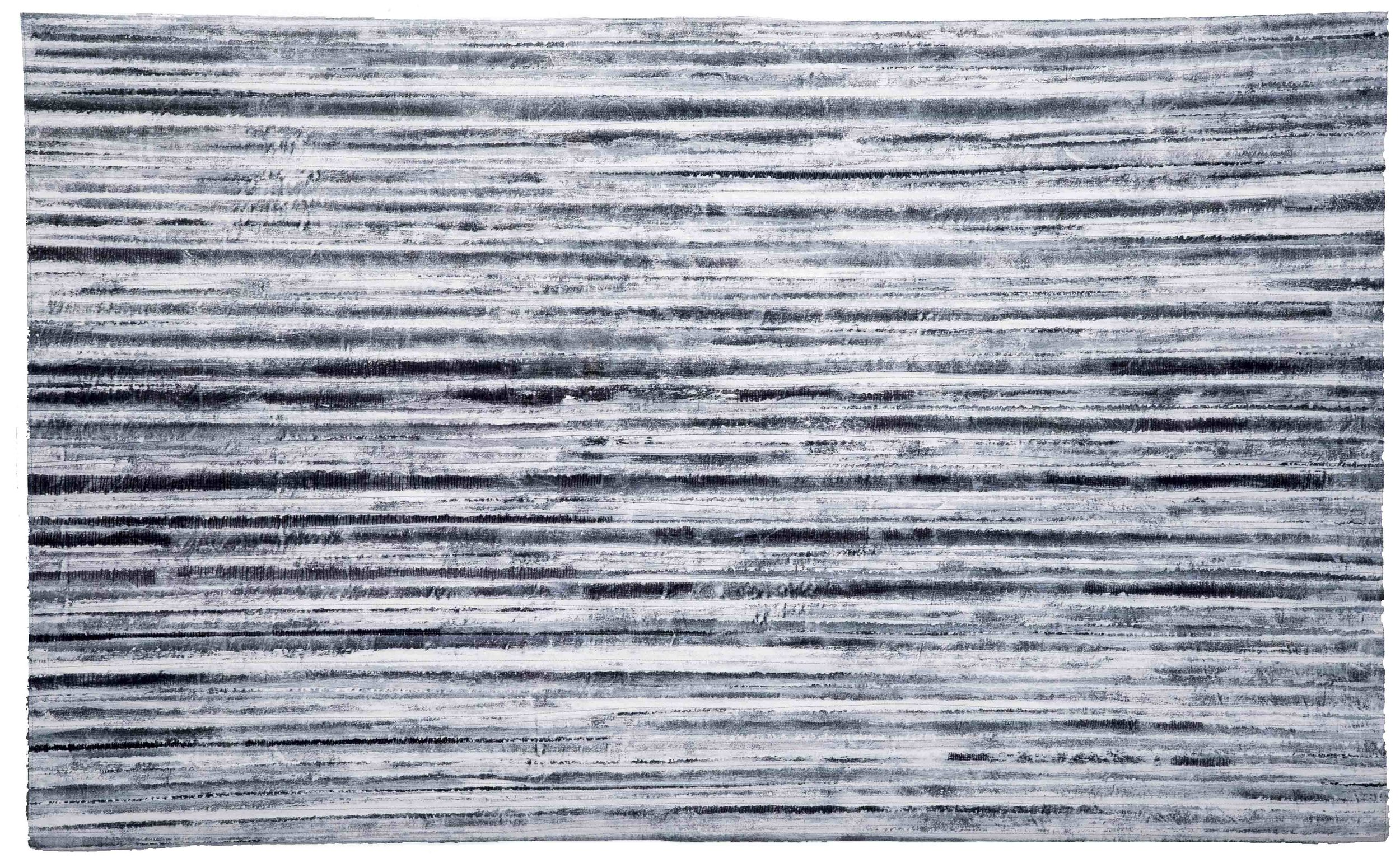 'Arctic Tundra', cotton, acrylic paint, machine and hand stitch. 142x87cm