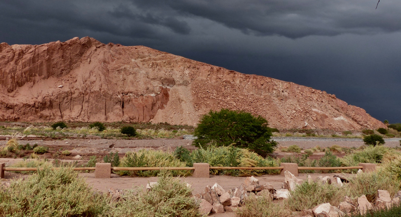 A huge storm coming across from the Andes; the inspiration for Red Rock, River & Rain'.